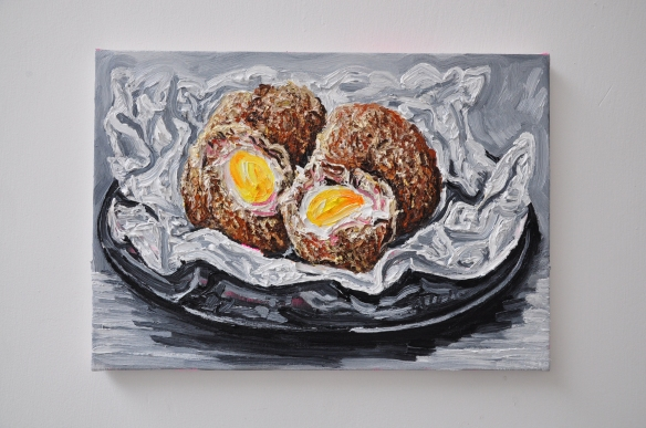 "A Franks, ""Scotch eggs"", 2014, oil on canvas 35x50cm"