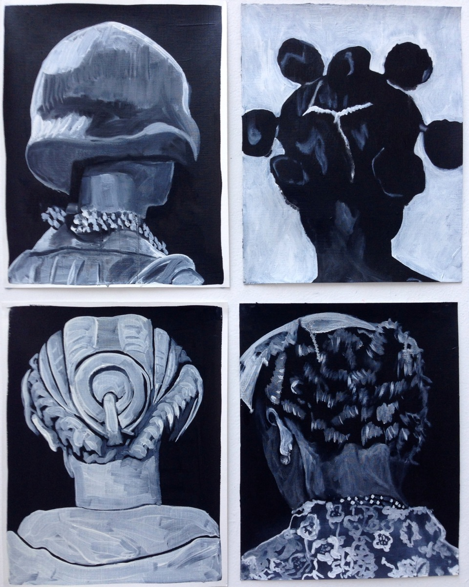 C Lomax, 'Belladonna' series, oil and acrylic on paper, 30x23cm each, 2014