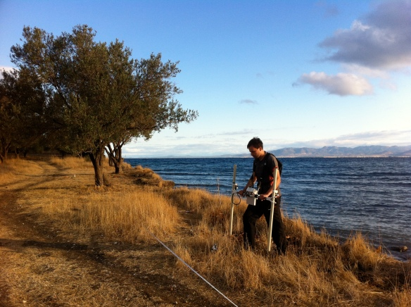Gradiometer survey being carried out in Kane, Turkey
