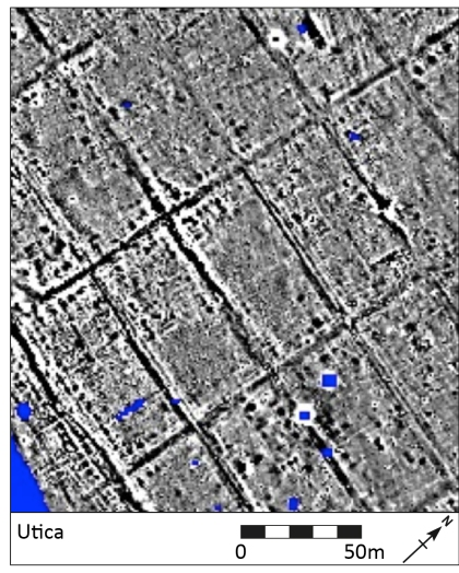 A small portion of the gradiometry survey results from Utica – the roads show as large black lines and the walls of individual structures within the rectangular insulae as a mixture of white and black lines depending on the nature of the building material. Floor surfaces also show up as black features.