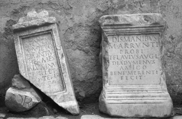 Civitella San Paolo, fragments of 2 cippi
