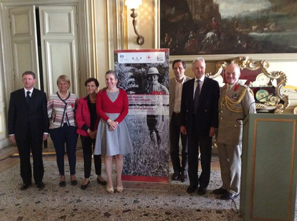 Christopher Smith (BSR Director), Anna Maria Colombani (President of the Croce Rossa Italiana), Giovanna Marinelli (Assessore alla Cultura e al Turismo di Roma Capitale), Principessa Gesine Doria Pamphilj, Massimiliano Floridi, HM Ambassador Christopher Prentice, Colonel Duncan Venn. Image courtesy of the British Embassy.