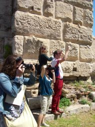 At Porta Maggiore students document the tomb of Eurysaces. Photo: Leah Wanklyn.
