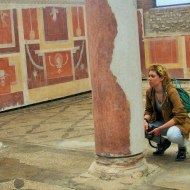 Investigating frescoes. Photo: Thea Lawrence.