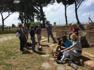 Students on site with Janet DeLaine from the University of Oxford. Photo: Stephen Kay.