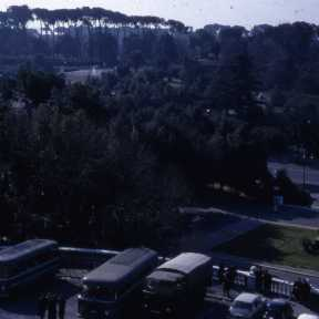 Police vans in front of the BSR during the Architecture School riots (1968)