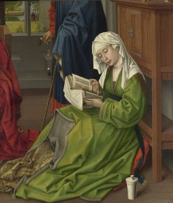 Rogier van der Weyden, The Magdalen Reading, (detail), before 1438, oil on mahogany, transferred from another panel, 62.2 x 54.4 cm, National Gallery, London.