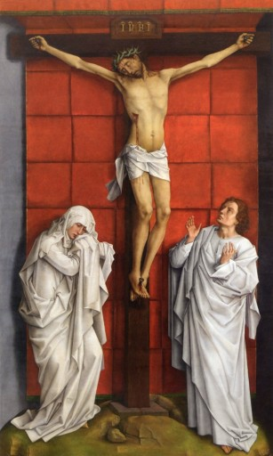 Rogier van der Weyden, The Crucifixion, c. 1457-64, oil on panel, 323.5 x 192 cm, Patrimonio Nacional, Real Monasterio de San Lorenzo del Escorial, Madrid.