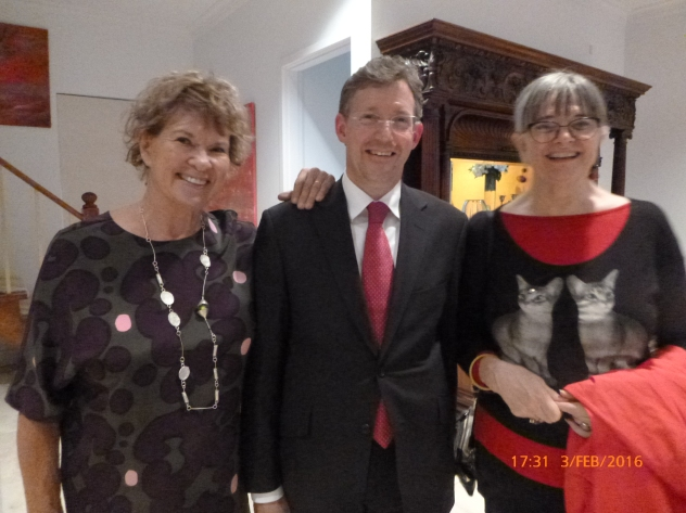 Felicity Peters, Sue Russell and Christopher at the Melbourne reception