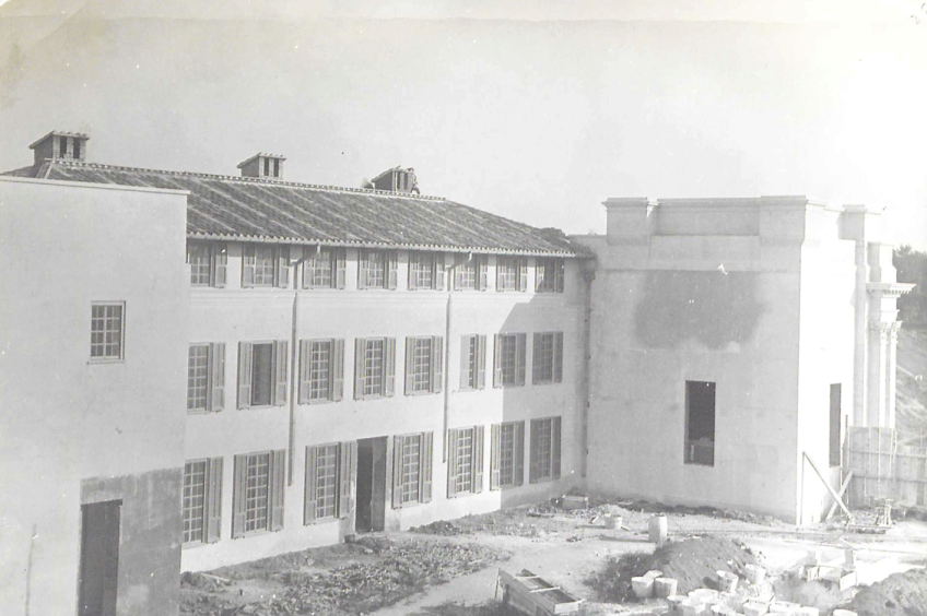 'Exterior view of the east wing'.