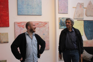 Ross and Andrew Stahl in Ross' studio