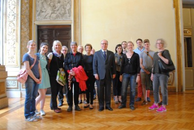 Group photo with Ambassador Ricardo Neiva Tavares, and his wife Cecilia