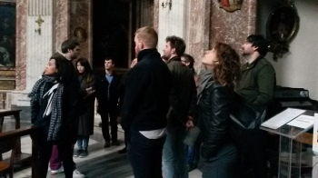Assistant Director Tom True explains Bernini's architecture in Sant'Andrea in Quirinale. Photo by Ellie Johnson.