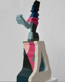 Sinta's collaborative sculpture with Nick Hornby at 'I Lost my Heart to a Starship Trooper' exhibition