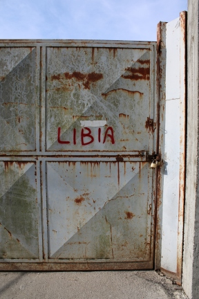 Door to the ruined Libya Pavilion in 2017. Photograph by Zoe Cormack