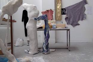 Kate's sculptures in her studio.