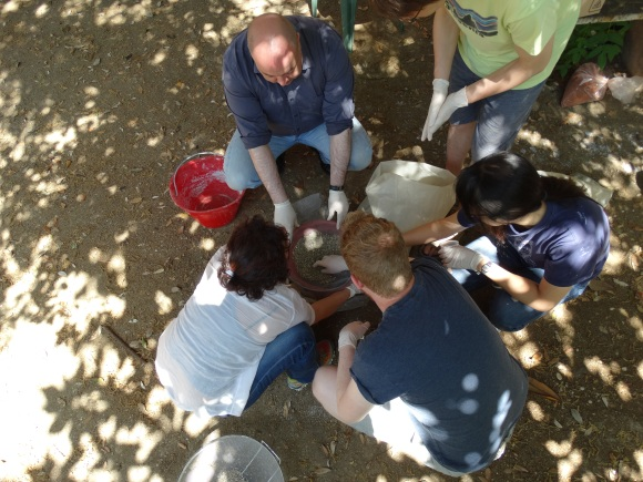 Mixing the mortar. Photo by Stephen Kay.