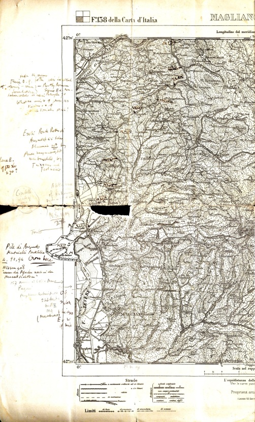 One of the IGM (Istituto Geografico Militare) maps used by Thomas Ashby when he explored a section of the via Flaminia, including the town of Otricoli.jpg