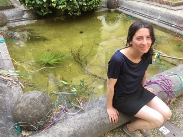 Karin Ruggaber with fountain installation, the Romanian Academy 2019