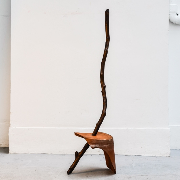 Wood and Earthen I, 2019, found branch and broken pot, 30x30x80cm